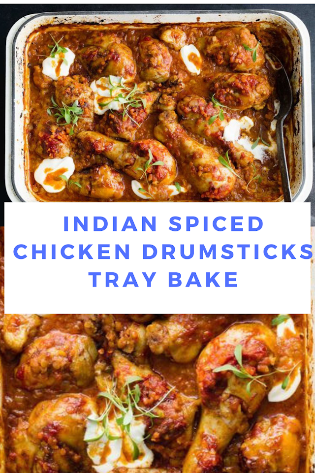 Indian spiced chicken drumsticks tray bake