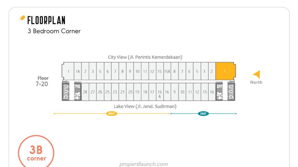 Floor Plan Apartemen Skandinavia Alter Ego tipe 3 BR Corner