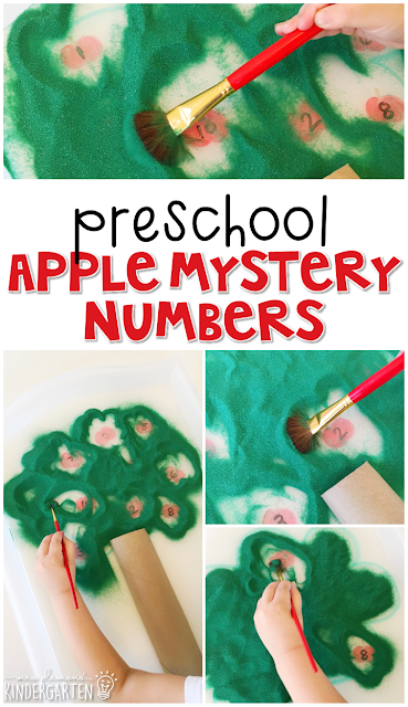 This apple mystery number activity is a super fun way to practice number identification and fine motor skills with an apple theme. Great for tot school, preschool, or even kindergarten!