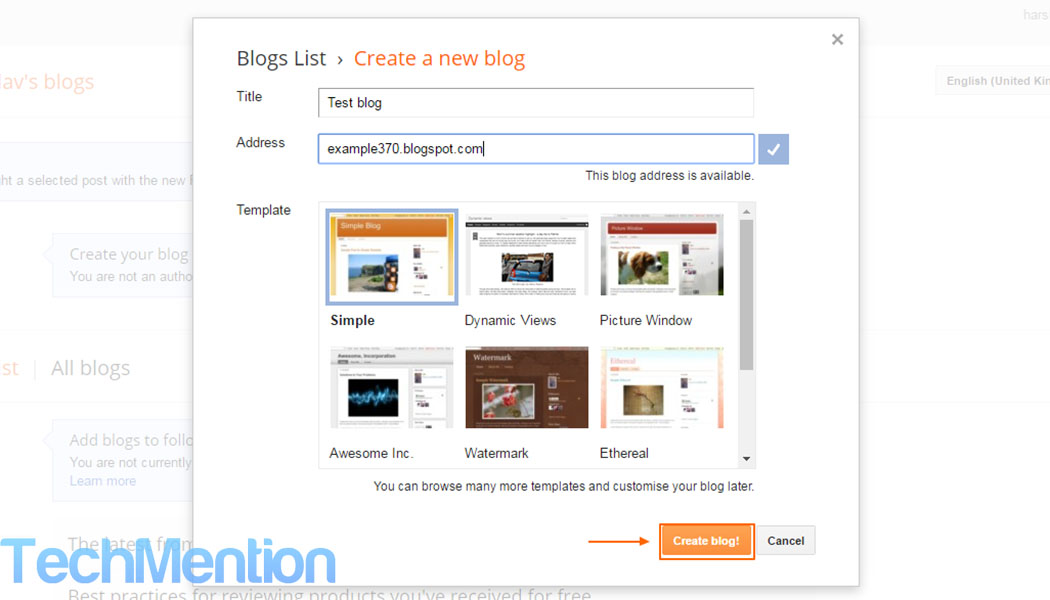 A newbie guide to create a free blog on blogger techmention for How to build a blog