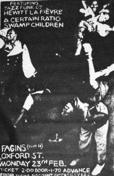 23 February 1981, Fagins, Manchester - A Certain Ratio Gigography