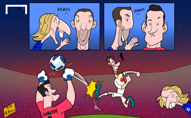Danijel Subasic, Darijo Srna, Modric and Ramos cartoon