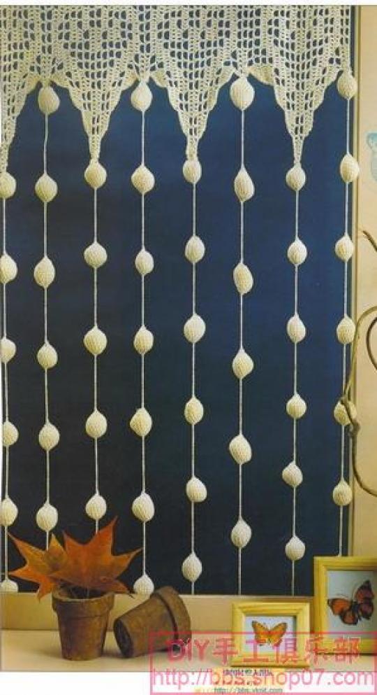 Cortinas De Baño Tejidas Al Crochet:Patron Crochet 3 Cortinas para el Hogar – Patrones Crochet