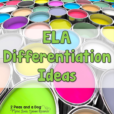 Ideas on using Differentiated Instruction in your ELA classroom from the 2 Peas and a Dog blog.
