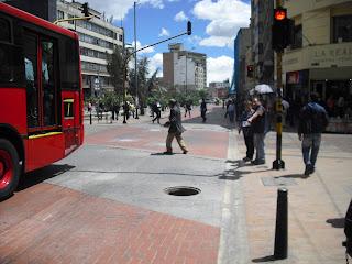 A standard open manhole in Bogotá