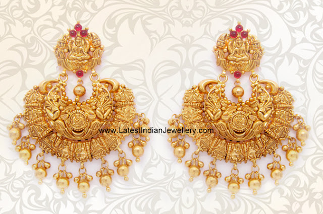 Gold Lakshmi Chandbali Earrings