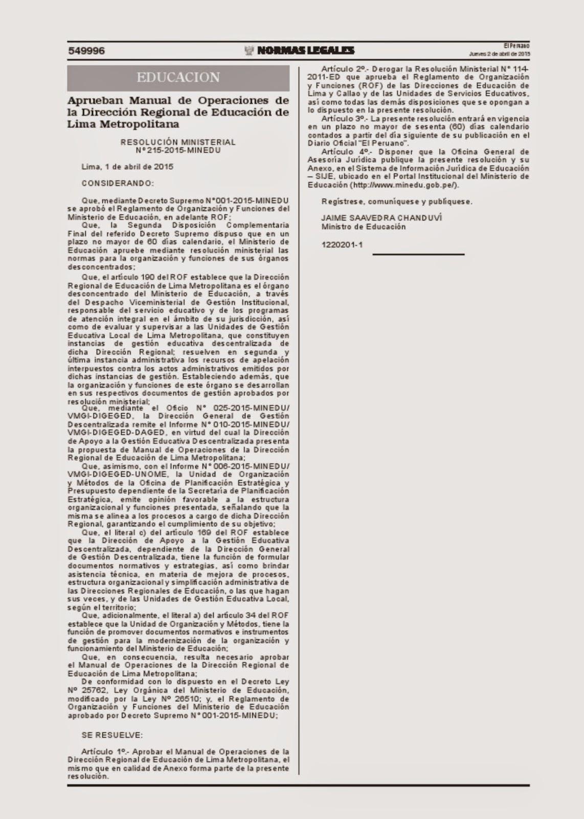 FENTASE: RESOLUCIÓN MINISTERIAL Nº 215-2015- MINEDU