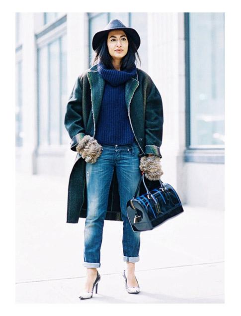 Многослойный комплект свитер + джинсы + пальто + шляпа