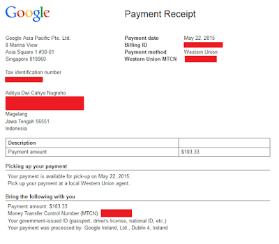 Bukti Google Adsense, Adsense Paypement Proof