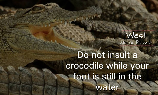 Do not insult a crocodile while your foot is still in the water