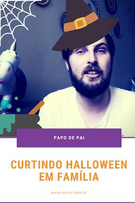 """Banner promocional do vídeo """"Diversão de Dia das Bruxas"""" com dicas e histórias de comemoração de Halloween em família."""
