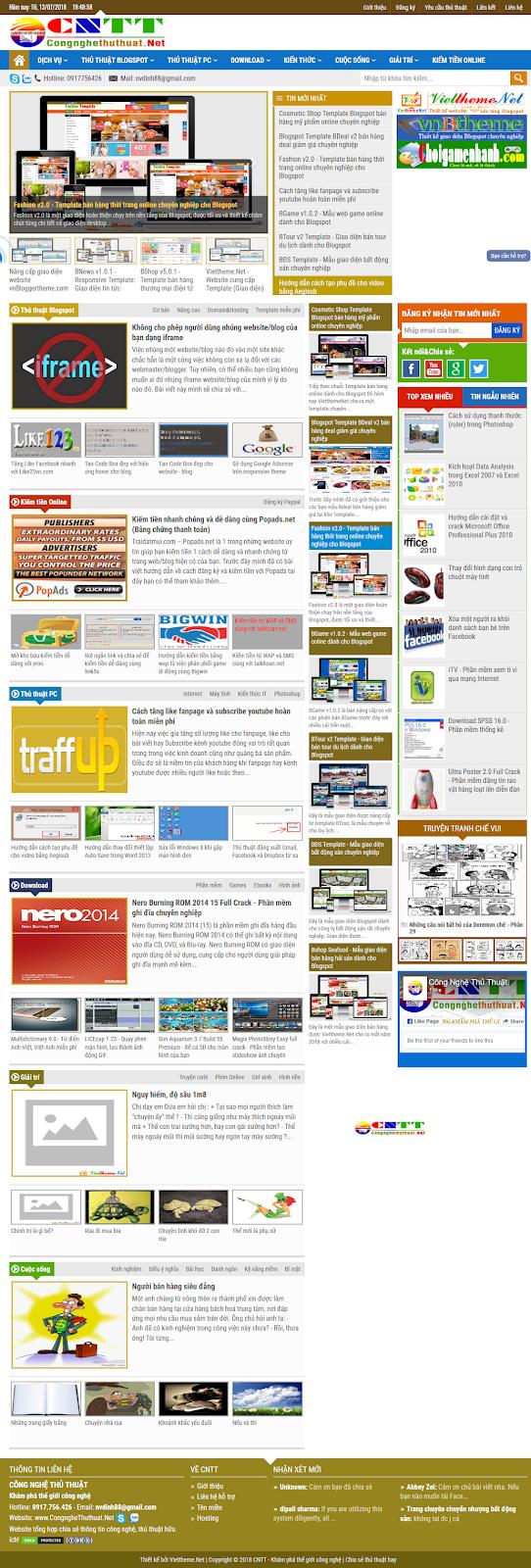 Giới thiệu website CongngheThuthuat (CNTT) chính thức hoạt động thay traidatmui.com