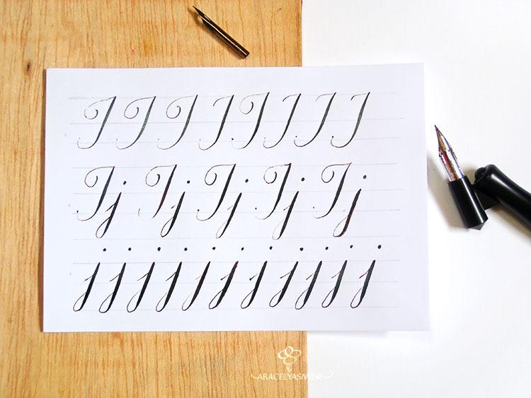Caligrafía copperplate, ¿cómo escribir la letra J?
