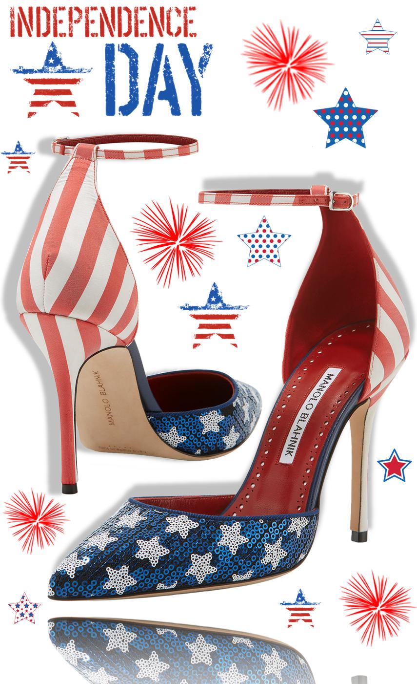 Manolo Blahnik Zaka Stars&Stripes Sequin Ankle-Strap Pump