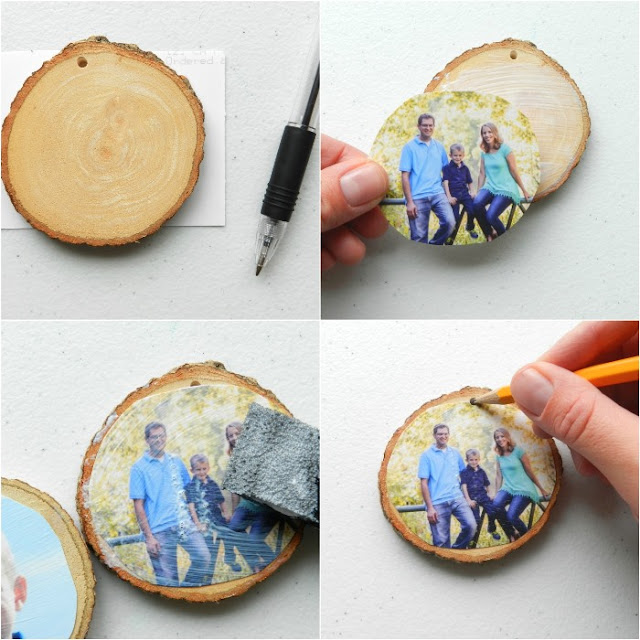 How to make wood slice ornaments with family photos: grow creative blog