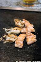 Pork and Oysters at Mizuno Okonomiyaki in Osaka, Japan