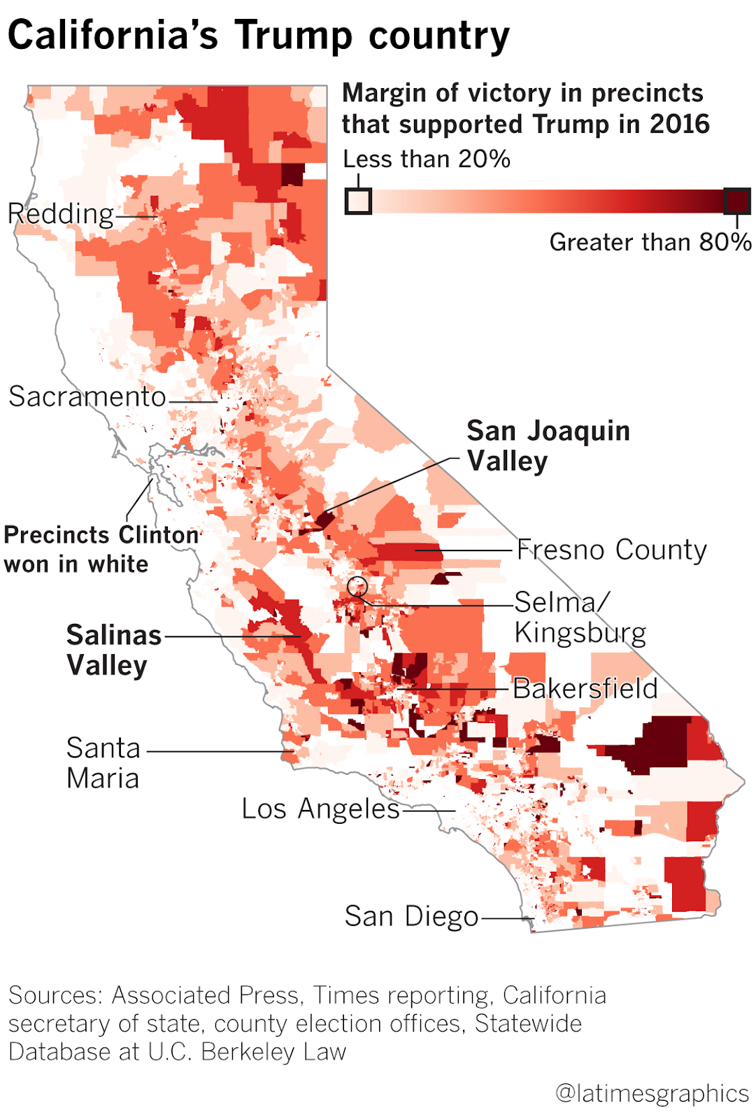 how california voted in 2016 l a times map click to enlarge
