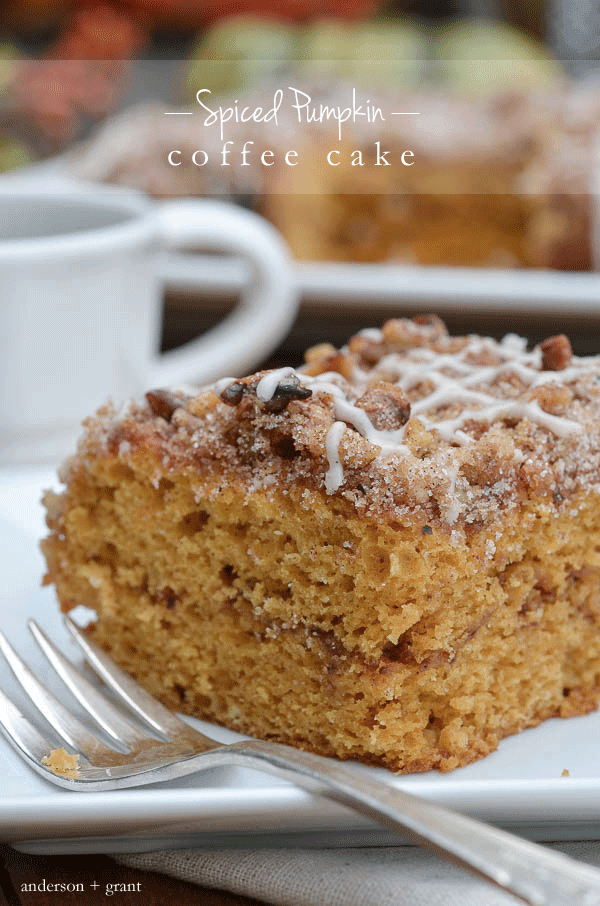 Pumpkin Coffee Cake on white plate