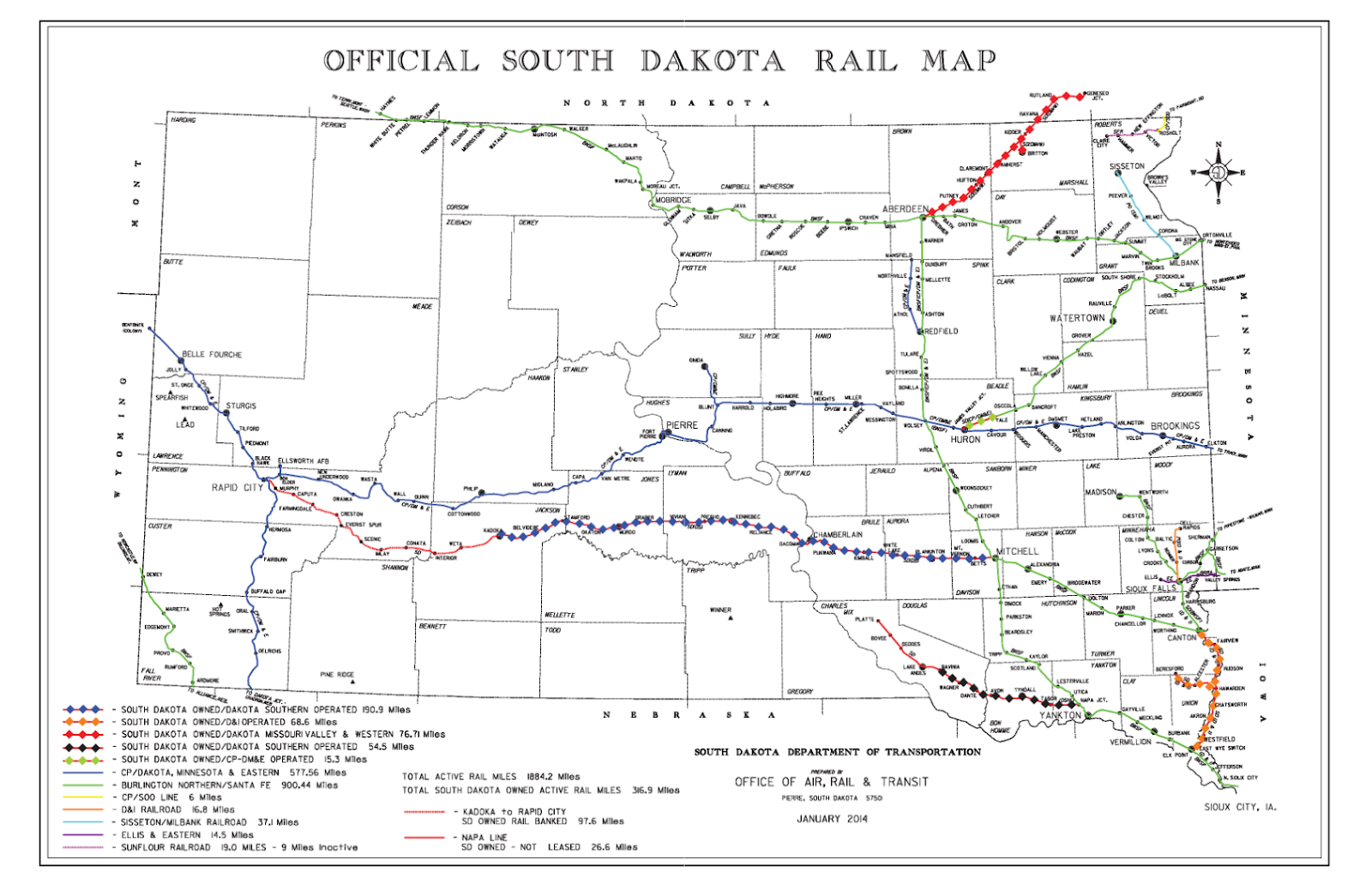 map of south dakota s rail system as of 2014 source