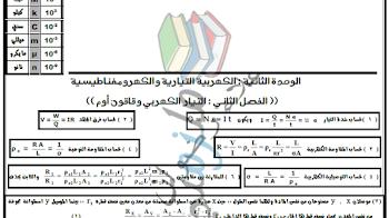 مراجعة قوانين منهج الفيزياء للصف الثالث الثانوي 2018