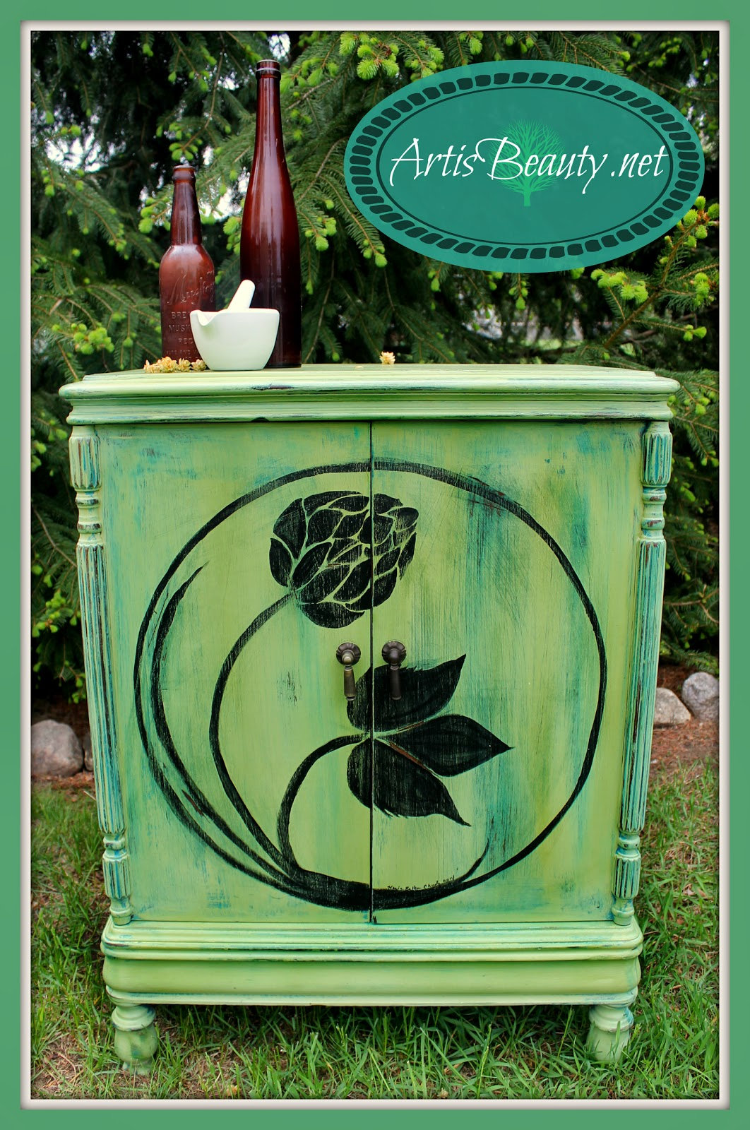 Happy Hoppy Homebrew Cabinet Hand painted hop artwork vintage music cabinet