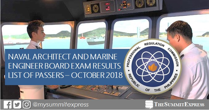 FULL RESULTS: October 2018 Naval Architect, Marine Engineer board exam list of passers, top 10