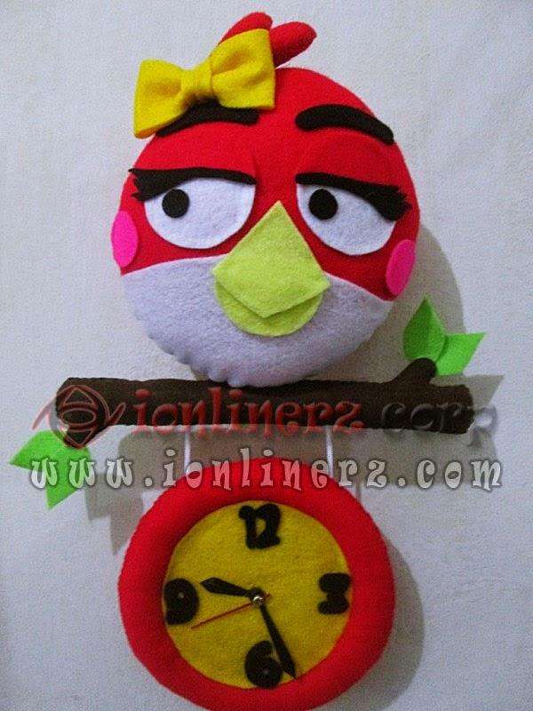 Jam Dinding Flanel Karakter Kartun Boneka Angry Bird Red Cewek