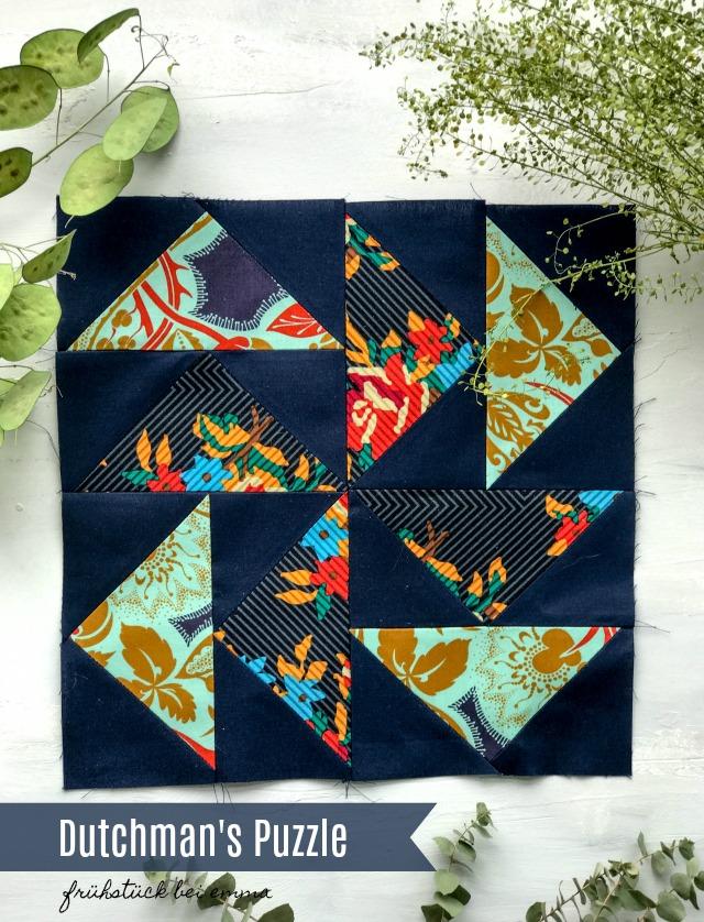 Mein Quiltblock Dutchman's Puzzle für den Mai 6 Köpfe 12 Blöcke - Frühstück bei Emma