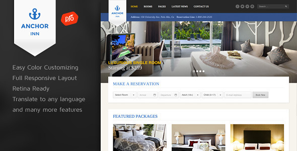 Download Free Anchor Inn v1.3 Themeforest Hotel and Resort Wordpress Theme