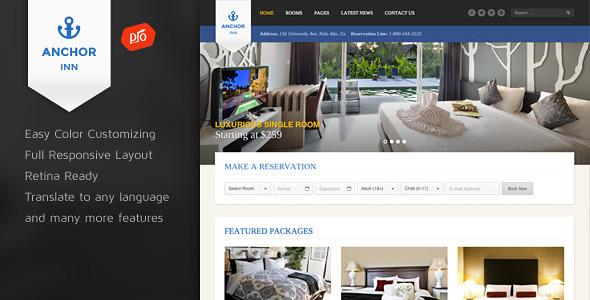 Download Free Anchor Inn v1.3 Themeforest Hotel and Resort Wordpress Theme