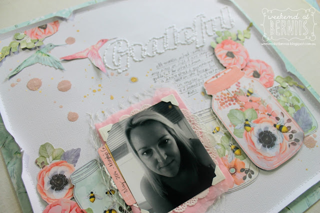 """ Grateful"" layout by Bernii Miller for BoBunny using the Butterfly Kisses collection."