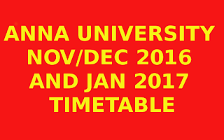 Anna university Nov/Dec 2016 Timetable