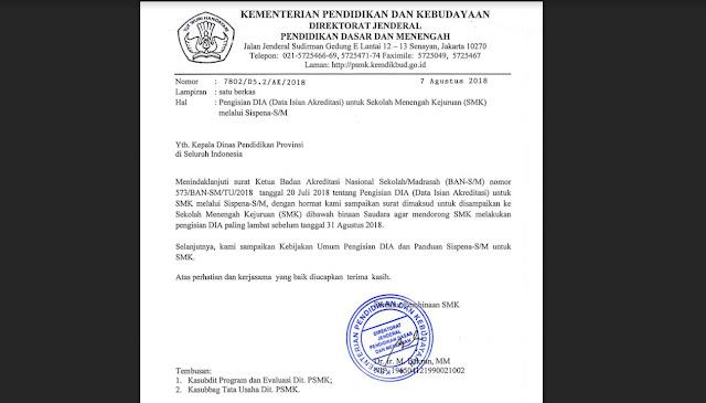 Data Isian Akreditasi SMK Paling Lambat 31 Agustus 2018