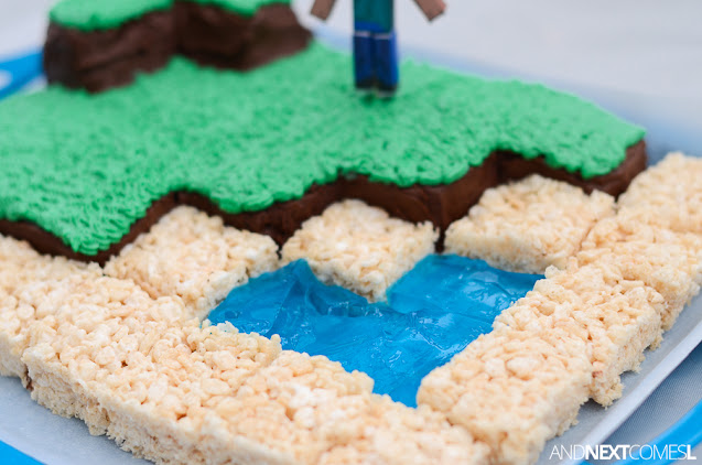 How to make a Minecraft birthday cake with rice krispies and jello