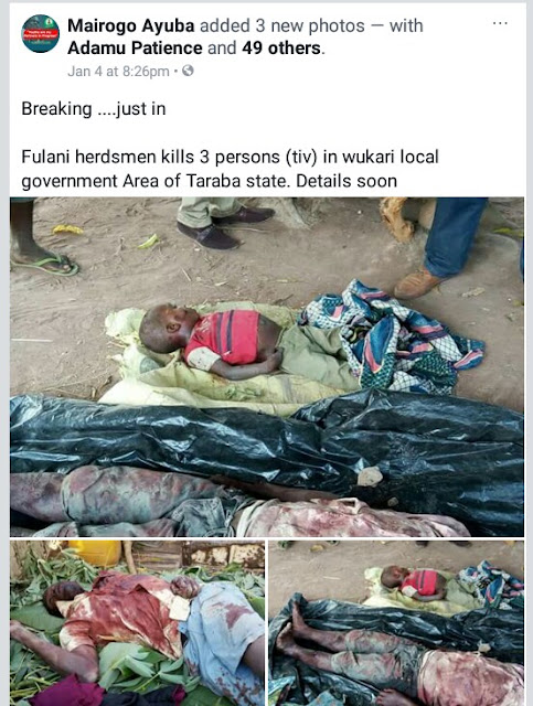 Photos: Fulani herdsmen strikes again, kill three persons including a child in Taraba State