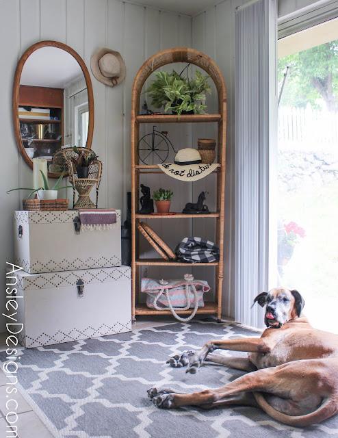 Neutral Boho Entryway! Vintage mirror wicker shelf