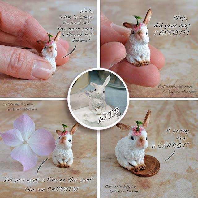 Miniatura Coniglietto in Pasta Sintetica