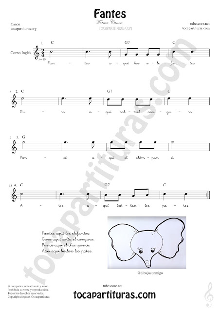 Corno Inglés Partitura de Fantes Sheet Music for English Horn Music Scores