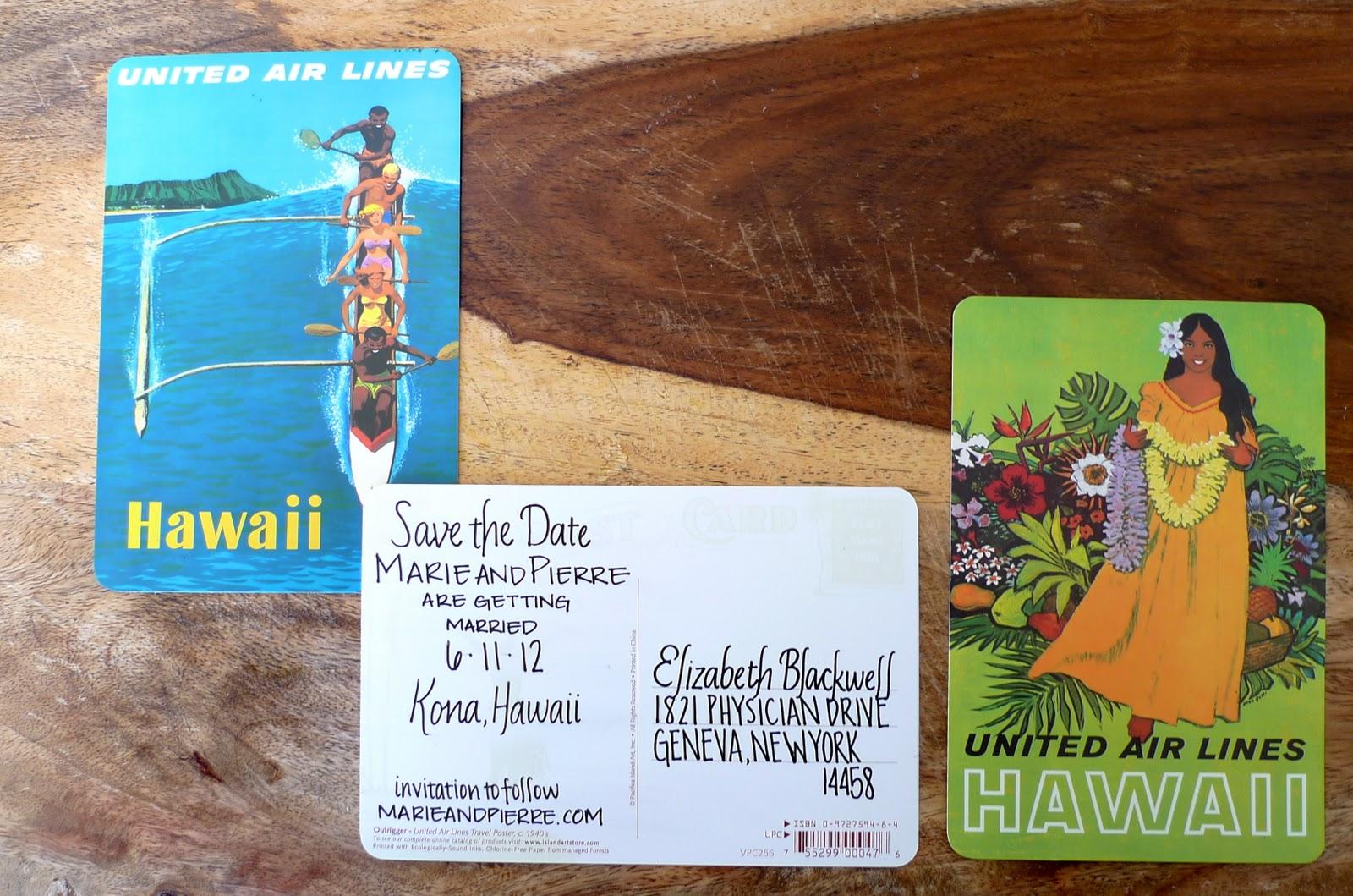 Vintage Hawaiian Postcard Save The Dates