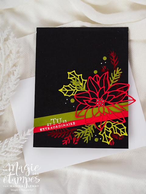 carte avec les Thinlits parfait Poinsettia Stampinup