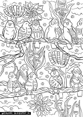 A coloring page of birds and flowers / Värityskuva linnuista ja kukista