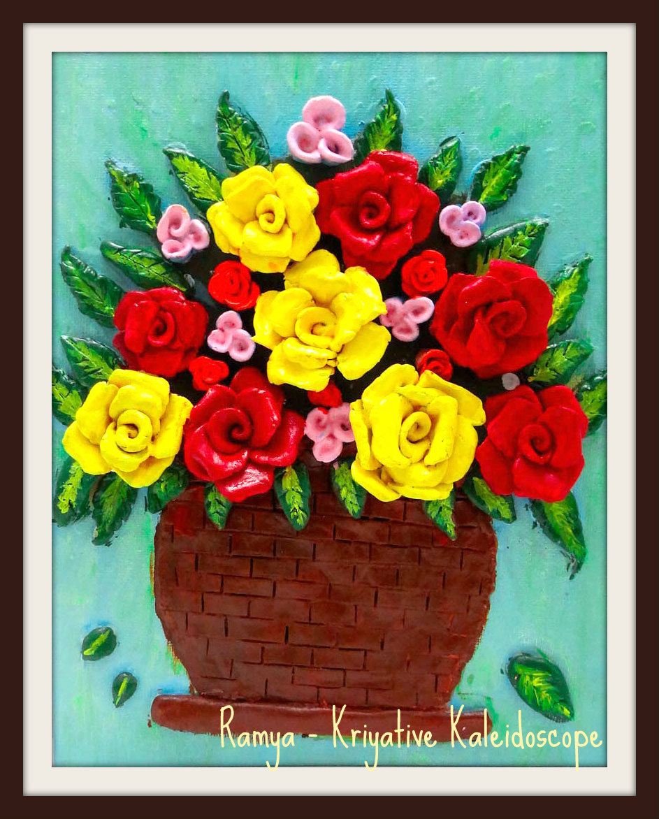 Kriya tive kaleidoscope rose bouquet 3d clay art for Clay mural tutorial