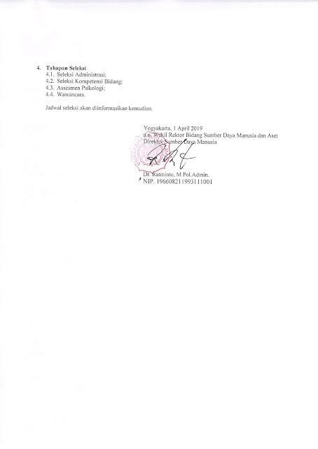 Penerimaan Tenaga Kependidikan Tetap Rumah Sakit Gigi dan Mulut Universitas Gadjah Mada Prof.Soedomo