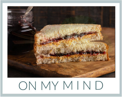 On My Mind ♥ KitchenParade.com, peanut butter and jelly sandwiches on the front step