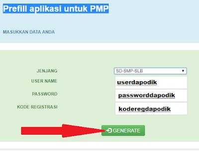 gambar cara generate prefill dapodik aplikasi PMP