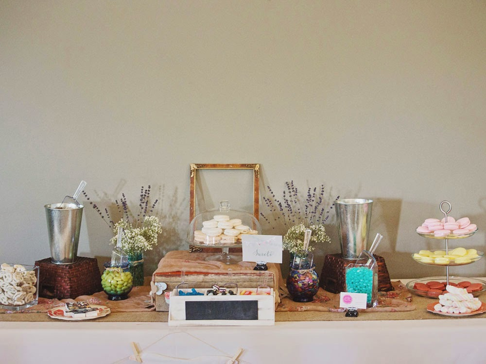 Rustic vintage wedding candy bar table