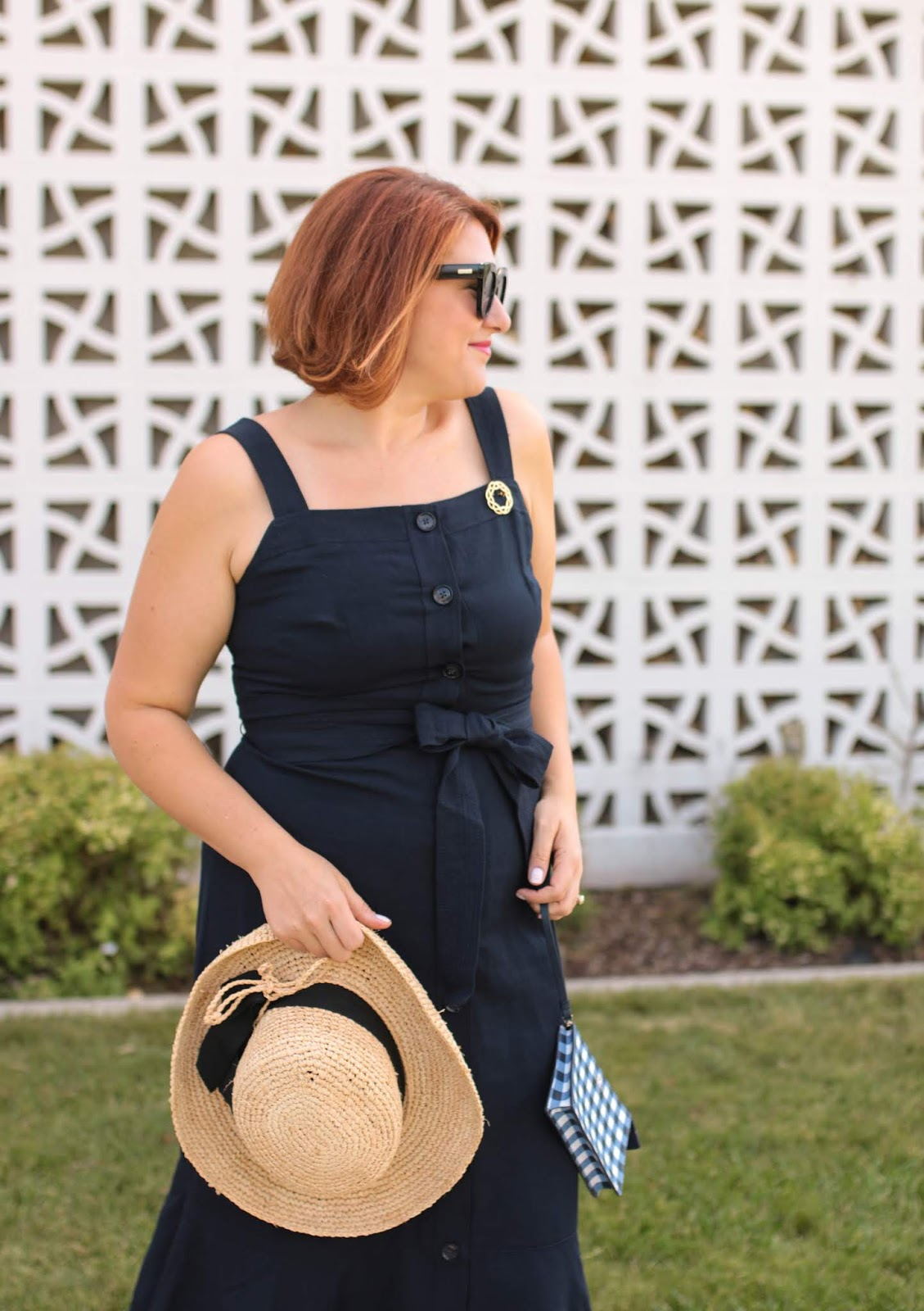 Banana republic navy linen trumped dress, Kate spade gingham wristlet, chanel look alike sling-backs