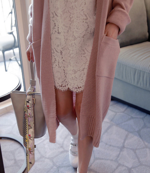 Long V-Neck Knit Cardigan