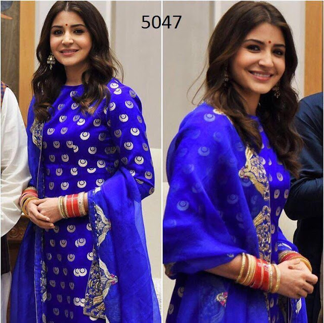 Anushka Sharma in a blue suit