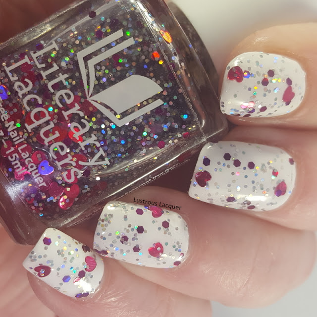 Limited edition topper from the As You Wish trio Valentines Collection 2018. Clear base with heart glitter mixed in with holographic hex glitter